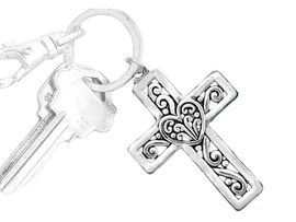 W6487KC - DOUBLE-SIDED FILIGREE<BR>           CROSS & HEART KEYCHAIN<BR>                 FROM $2.50 TO $7.50