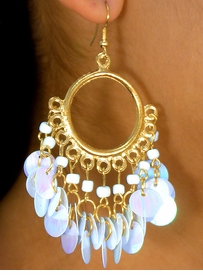 W6538EA - 3-COLOR MATTE GOLD FINISH<BR>   CASCADING DISC DROP HOOP EARRING<br>           ASSORTMENT AS LOW AS $1.85