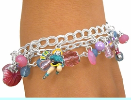 <br>W6551B - ADORABLE TRIPLE-CHAIN<br>   MULTI CHARM CHEERLEADER AND<br>   FACETED BEAD TOGGLE BRACELET<Br>               FROM $5.63 TO $12.50