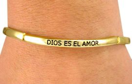"""<BR>     W6846B - POLISHED GOLD FINISH<BR>  """"GOD IS LOVE"""" IN THREE LANGUAGES<Br>STRETCH BRACELET FROM $3.38 TO $7.50"""