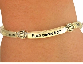 "W6883B - RELIGIOUS GOLD TONE<BR>    ROMANS 10:17 ""FAITH COMES<BR>     FROM..."" STRETCH BRACELET<Br>              FROM $4.16 TO $9.25"
