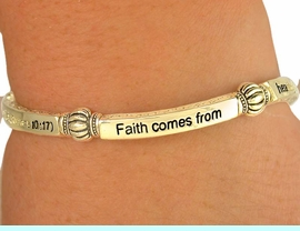 """W6883B - RELIGIOUS GOLD TONE<BR>    ROMANS 10:17 """"FAITH COMES<BR>     FROM..."""" STRETCH BRACELET<Br>              FROM $4.16 TO $9.25"""
