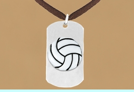 """<bR>              AN ALLAN ROBIN DESIGN<bR>                    EXCLUSIVELY OURS!!<BR>      CLICK HERE TO SEE 65+ EXCITING<BR>       CHANGES THAT YOU CAN MAKE!<BR>                   LEAD & NICKEL FREE!!<BR>W695SN - DOUBLE-SIDED VOLLEYBALL<Br> <B>  """"NEVER GIVE UP"""" DOG TAG NECKLACE</B><BR>                  FROM $6.25 TO $10.50<BR>                                 &#169;2010"""
