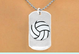 """<bR>              AN ALLAN ROBIN DESIGN<bR>                   EXCLUSIVELY OURS!!<BR>      CLICK HERE TO SEE 65+ EXCITING<BR>       CHANGES THAT YOU CAN MAKE!<BR>                  LEAD & NICKEL FREE!!<BR>W695N5 - DOUBLE-SIDED VOLLEYBALL<Br> <B>  """"NEVER GIVE UP"""" DOG TAG NECKLACE</B><BR>                 FROM $6.25 TO $10.50<BR>                                 &#169;2010"""