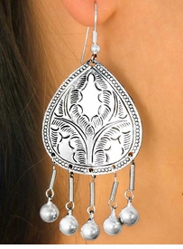 <BR>  W6989EA - 2-STYLE JINGLING ETCHED<bR>SILVER FINISH FISHHOOK WIRE EARRING<bR>         ASSORTMENT AS LOW AS $4.50