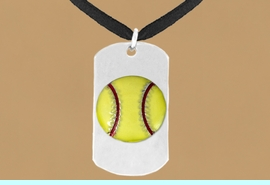 """<bR>              SOFTBALL NECKLACE - ADJUSTABLE<bR>                 <BR>     <BR>                 LEAD & NICKEL FREE!!<BR>W698N3 - DOUBLE-SIDED SOFTBALL<Br>""""NEVER GIVE UP"""" DOG TAG NECKLACE<BR>                 $10.83 EACH     &#169;2010"""