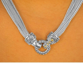 <Br>    W7037NE - UNIQUE MULTI CHAIN<br>TWO-TONE WHEAT-RING MAGNETIC<Br>           NECKLACE & EARRING SET<bR>                     AS LOW AS $10.25