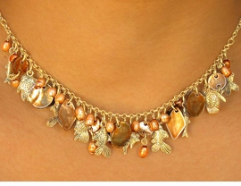 """<bR>      W7051NE - NACREOUS TOPAZ COLOR<br>GENUINE SHELL DIAMOND & DISCS DROPS<Br>       WITH """"FLOATING FISH"""" NECKLACE &<Br>            EARRING SET AS LOW AS $12.25"""
