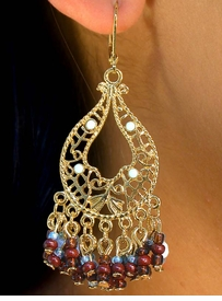 <bR>W7174EA - BEAUTIFUL GOLD FINISH<br>  DECORATIVE TEARDROP & BEADED<Br>   CHAIN DROP EUROWIRE EARRING<Br>    ASSORTMENT AS LOW AS $4.60