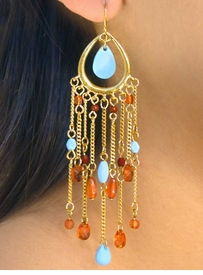 <bR>  W7178EA - POLISHED GOLD FINISH<Br>FACETED BEAD CENTER TEARDROP &<br>   BEADED MULTI CHAIN FISHHOOK<Br>             EARRING ASSORTMENT<BR>                   AS LOW AS $3.90
