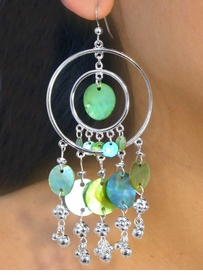 <Br>   W7281EA - 5-COLOR SILVER TONE<Br>        DOUBLE SWINGING CIRCLE &<Br>GENUINE DYED MOTHER-OF-PEARL<Br>SHELL DROP EARRING ASSORTMENT<Br>                   AS LOW AS $4.60