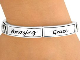 "<br>W7319B - POLISHED SILVER TONE<br>   ""AMAZING GRACE"" & CUT-OUT<Br>  CROSS TILE STRETCH BRACELET<Br>              FROM $5.06 TO $11.25"