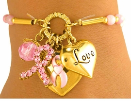 W7336B - POLISHED GOLD TONE<br>    BREAST CANCER AWARENESS<Br>      STRETCH CHARM BRACELET<Br>            FROM $6.19 TO $13.75