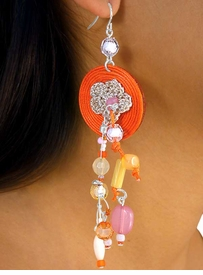 W7354EA - 6-COLOR DYED ROPE<Br>  CROCHETED FLOWER & BEADED<Br>         FISHHOOK WIRE EARRING<br>  ASSORTMENT AS LOW AS $3.45
