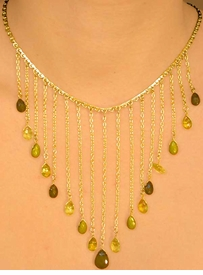 <br> W7424NEA - TOPAZ & CHARTREUSE<Br>     CASCADING FACETED TEARDROP<Br> GOLD FINISH NECKLACE & EARRING<Br>SET ASSORTMENT AS LOW AS $10.15