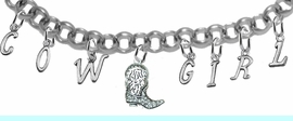 """NEW! ADJUSTABLE COWGIRL """"CRYSTAL BOOT"""" BRACELET<BR>        NICKEL.LEAD, AND POISONOUS CADMIUM FREE<br> EIGHT CHARMS-W839COW-1087-839GIRLB2 $16.68 EACH<BR> �2020"""