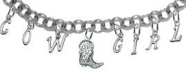 "NEW! ADJUSTABLE COWGIRL ""CRYSTAL BOOT"" BRACELET<BR>        NICKEL.LEAD, AND POISONOUS CADMIUM FREE<br> EIGHT CHARMS-W839COW-1087-839GIRLB2 $16.68 EACH<BR> �2020"