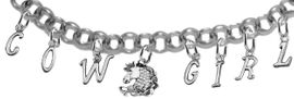 "NEW! ADJUSTABLE COWGIRL GENUINE CRYSTAL ""HORSE HEAD"" BRACELET <BR>        NICKEL.LEAD, AND POISONOUS CADMIUM FREE<br>EIGHT CHARMS-W839COW-1140-839GIRLB2 $16.68 EACH<BR> �2020"