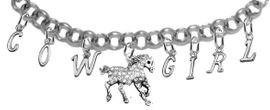 NEW! ADJUSTABLE COWGIRL GENUINE CRYSTAL HORSE BRACELET<BR>              NICKEL.LEAD, AND POISONOUS CADMIUM FREE<br>      EIGHT CHARMS-W839COW-1293-839GIRLB2 $16.68 EACH<BR> �2020