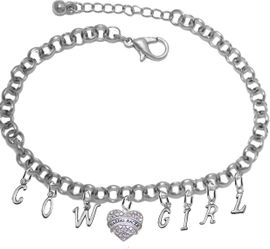 NEW! ADJUSTABLE COWGIRL BARREL RACER BRACELET<BR>        NICKEL.LEAD, AND POISONOUS CADMIUM FREE<BR>EIGHT CHARMS-W839COW-1727-839GIRLB2 $16.68 EACH<br>�2020