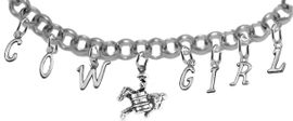 NEW! ADJUSTABLE COWGIRL BARREL RACER BRACELET<BR>        NICKEL.LEAD, AND POISONOUS CADMIUM FREE<BR>EIGHT CHARMS-W839COW-331-839GIRLB2 $11.68 EACH<br>�2020