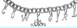 """NEW! ADJUSTABLE COWGIRL """"I LOVE COWBOYS"""" BRACELET<BR>        NICKEL.LEAD, AND POISONOUS CADMIUM FREE<br> EIGHT CHARMS-W839COW-691-839GIRLB2 $11.68 EACH<BR> �2020"""