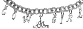 "NEW! ADJUSTABLE COWGIRL ""I LOVE COWBOYS"" BRACELET<BR>        NICKEL.LEAD, AND POISONOUS CADMIUM FREE<br> EIGHT CHARMS-W839COW-691-839GIRLB2 $11.68 EACH<BR> �2020"