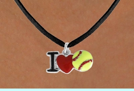 """<bR>               SOFTBALL NECKLACE - ADJUSTABLE<BR>         <BR>       <BR>              LEAD & NICKEL FREE!!<BR>    W841N3 - """"I LOVE SOFT BALL""""<Br>  NECKLACE  $8.68 EACH   &#169;2011"""