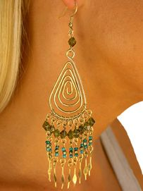 W8491E - BRONZE FINISH MULTI-TEAR<Br>     BEADED STRAND DROP EARRINGS<Br>                        AS LOW AS $3.45