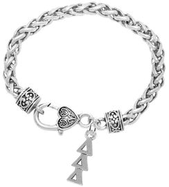 <bR>      WHOLESALE FASHION SORORITY JEWELRY  <BR>                     EXCLUSIVELY OURS!!  <BR>                AN ALLAN ROBIN DESIGN!!   <BR>               HYPOALLERGENIC - SAFE !!  <BR>          LEAD, NICKEL & CADMIUM FREE!!   <BR> W851B1 - OFFICIAL SILVER TONE GREEK <BR>DELTA DELTA DELTA SORORITY CHARM ON HEART<Br> CLASP BRACELET FROM $5.90 TO $9.25 �2015