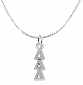 <bR>      WHOLESALE FASHION SORORITY JEWELRY  <BR>                     EXCLUSIVELY OURS!!  <BR>                AN ALLAN ROBIN DESIGN!!   <BR>               HYPOALLERGENIC - SAFE !!  <BR>          LEAD, NICKEL & CADMIUM FREE!!   <BR> W851N2 - OFFICIAL SILVER TONE GREEK <BR>DELTA DELTA DELTA SORORITY CHARM ON SNAKE <Br> CHAIN NECKLACE FROM $5.90 TO $9.25 �2015