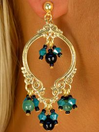 <bR>     W8537E - POLISHED GOLD TONE<Br>VINTAGE STYLE BLACK & TURQUOISE<Br>BEADED EARRINGS AS LOW AS $4.85