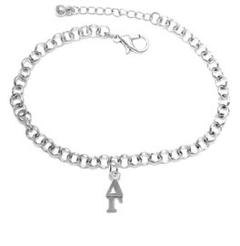<bR>      WHOLESALE FASHION SORORITY JEWELRY  <BR>                     EXCLUSIVELY OURS!!  <BR>                AN ALLAN ROBIN DESIGN!!   <BR>               HYPOALLERGENIC - SAFE !!  <BR>          LEAD, NICKEL & CADMIUM FREE!!   <BR> W853B2 - OFFICIAL SILVER TONE GREEK <BR>DELTA GAMMA SORORITY CHARM ON CHAIN <Br> LINK BRACELET FROM $5.90 TO $9.25 �2015