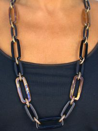 <bR> W8545NE - BROWN MARBLE SWIRL &<br>JET BLACK RECTANGLE LINK NECKLACE<Br>      & EARRING SET AS LOW AS $17.85
