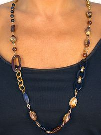 W8546NE - GOLD FINISH BROWN SWIRL<br> & GLOSSY BLACK BEADED NECKLACE &<br>         EARRING SET AS LOW AS $12.25