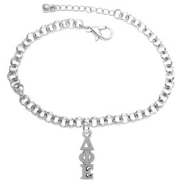 <bR>      WHOLESALE FASHION SORORITY JEWELRY  <BR>                     EXCLUSIVELY OURS!!  <BR>                AN ALLAN ROBIN DESIGN!!   <BR>               HYPOALLERGENIC - SAFE !!  <BR>          LEAD, NICKEL & CADMIUM FREE!!   <BR> W855B2 - OFFICIAL SILVER TONE GREEK <BR>DELTA PHI EPSILON SORORITY CHARM ON CHAIN <Br> LINK BRACELET FROM $5.90 TO $9.25 �2015