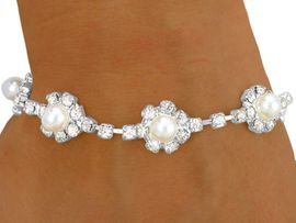 W8566B - BEAUTIFUL SILVER TONE<br> AUSTRIAN CRYSTAL & FAUX PEARL<Br> FLOWER LATCH-CLASP BRACELET<Br>    YOUR LOW PRICE IS ONLY $5.69