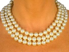 <bR>    W8584N - CREAM COLOR TRIPLE -<Br>STRAND 10MM FAUX PEARL NECKLACE<Br>                FROM $14.63 TO $27.00