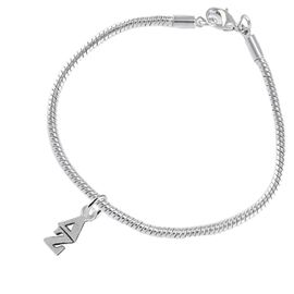 <BR> WHOLESALE FASHION SORORITY JEWELRY <BR> EXCLUSIVELY OURS!! <BR> AN ALLAN ROBIN DESIGN!! <BR>               HYPOALLERGENIC - SAFE !!     <BR>          LEAD, NICKEL & CADMIUM FREE!!    <BR>    W859B7 - OFFICIAL SILVER TONE GREEK  <BR>   DELTA ZETA SORORITY CHARM ON SNAKE <Br> CHAIN BRACELET FROM $5.90 TO $9.25 �2015