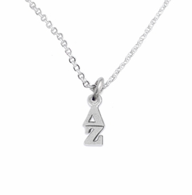 <bR>      WHOLESALE FASHION SORORITY JEWELRY  <BR>                     EXCLUSIVELY OURS!!  <BR>                AN ALLAN ROBIN DESIGN!!   <BR>               HYPOALLERGENIC - SAFE !!  <BR>          LEAD, NICKEL & CADMIUM FREE!!   <BR> W859N1 - OFFICIAL SILVER TONE GREEK <BR> DELTA ZETA SORORITY CHARM ON LOBSTER<Br> CLASP NECKLACE FROM $5.90 TO $9.25 �2015