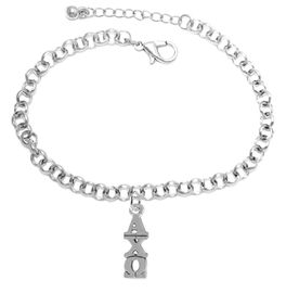 <BR>      WHOLESALE FASHION SORORITY JEWELRY  <BR>                       EXCLUSIVELY OURS!!  <BR>                  AN ALLAN ROBIN DESIGN!!  <BR>               HYPOALLERGENIC - SAFE !!  <BR>            LEAD, NICKEL & CADMIUM FREE!!    <BR>     W863B2 - OFFICIAL SILVER TONE GREEK  <BR>  ALPHA CHI OMEGA SORORITY CHARM ON LOBSTER <Br> CLASP BRACELET FROM $5.90 TO $9.25 �2015