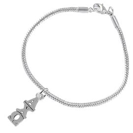 <BR>      WHOLESALE FASHION SORORITY JEWELRY  <BR>                       EXCLUSIVELY OURS!!  <BR>                  AN ALLAN ROBIN DESIGN!!  <BR>               HYPOALLERGENIC - SAFE !!  <BR>            LEAD, NICKEL & CADMIUM FREE!!    <BR>     W863B7 - OFFICIAL SILVER TONE GREEK  <BR>  ALPHA CHI OMEGA SORORITY CHARM ON SNAKE <Br> CHAIN BRACELET FROM $5.90 TO $9.25 �2015