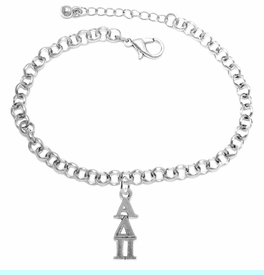 <bR>      WHOLESALE FASHION SORORITY JEWELRY  <BR>                     EXCLUSIVELY OURS!!  <BR>                AN ALLAN ROBIN DESIGN!!   <BR>               HYPOALLERGENIC - SAFE !!  <BR>          LEAD, NICKEL & CADMIUM FREE!!   <BR> W865B2 - OFFICIAL SILVER TONE GREEK <BR> ALPHA DELTA PI SORORITY CHARM ON LOBSTER <Br> CLASP BRACELET FROM $5.90 TO $9.25 �2015