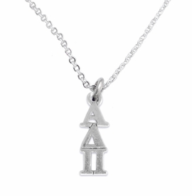 <bR>      WHOLESALE FASHION SORORITY JEWELRY  <BR>                     EXCLUSIVELY OURS!!  <BR>                AN ALLAN ROBIN DESIGN!!   <BR>               HYPOALLERGENIC - SAFE !!  <BR>          LEAD, NICKEL & CADMIUM FREE!!   <BR> W865SN1 - OFFICIAL SILVER TONE GREEK <BR> ALPHA DELTA PI SORORITY CHARM ON LOBSTER<Br> CLASP NECKLACE FROM $5.90 TO $9.25 �2015