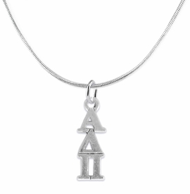 <bR>      WHOLESALE FASHION SORORITY JEWELRY  <BR>                     EXCLUSIVELY OURS!!  <BR>                AN ALLAN ROBIN DESIGN!!   <BR>               HYPOALLERGENIC - SAFE !!  <BR>          LEAD, NICKEL & CADMIUM FREE!!   <BR> W865SN2 - OFFICIAL SILVER TONE GREEK <BR> ALPHA DELTA PI SORORITY CHARM ON SNAKE <Br> CHAIN NECKLACE FROM $5.90 TO $9.25 �2015