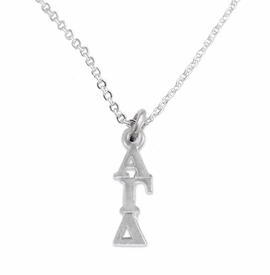 <bR>      WHOLESALE FASHION SORORITY JEWELRY  <BR>                     EXCLUSIVELY OURS!!  <BR>                AN ALLAN ROBIN DESIGN!!   <BR>               HYPOALLERGENIC - SAFE !!  <BR>          LEAD, NICKEL & CADMIUM FREE!!   <BR> W869SN1 - OFFICIAL SILVER TONE GREEK <BR> ALPHA GAMMA DELTA SORORITY CHARM ON LOBSTER <Br> CLASP NECKLACE FROM $5.90 TO $9.25 �2015