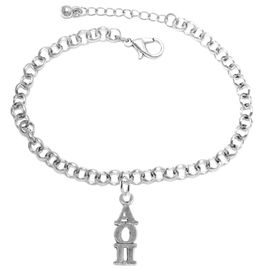<bR>      WHOLESALE FASHION SORORITY JEWELRY  <BR>                     EXCLUSIVELY OURS!!  <BR>                AN ALLAN ROBIN DESIGN!!   <BR>               HYPOALLERGENIC - SAFE !!  <BR>          LEAD, NICKEL & CADMIUM FREE!!   <BR> W873SB2 - OFFICIAL SILVER TONE GREEK <BR> ALPHA OMICRON PI SORORITY CHARM ON LOBSTER <Br> CLASP BRACELET FROM $5.90 TO $9.25 �2015