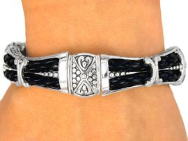 <bR>  W8741B - POLISHED SILVER FINISH<BR>   CONCAVE, WOVEN BLACK DOUBLE<Br>CORD TILE STRETCH BRACELET FROM<Br>                       $5.06 TO $11.25
