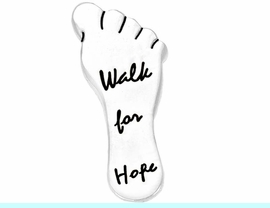 """<bR>  W8757P - POLISHED SILVER FINISH<Br>""""WALK FOR HOPE"""" FOOTPRINT TACK<Br>              PIN FROM $.95 TO $3.75<br>    EXCLUSIVELY OURS! WE ARE THE<Br> ONLY MANUFACTURER OF THIS PIN!"""