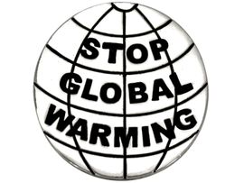 """W8765P - POLISHED SILVER FINISH<br> """"STOP GLOBAL WARMING"""" GLOBE<Br>           TACK PIN AS LOW AS $.95"""
